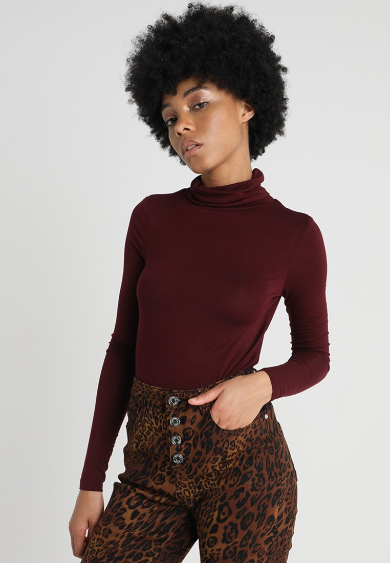 New Look - ROLL NECK - Long sleeved top - burgundy