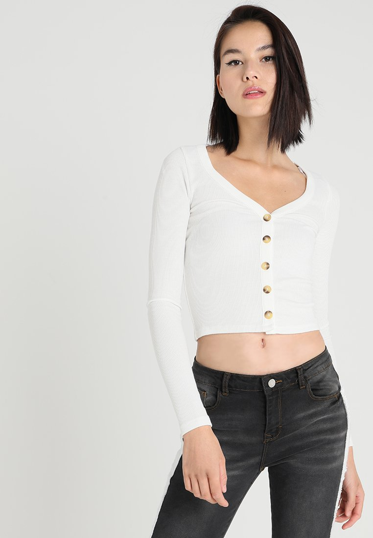 New Look - CROP BUTTON THROUGH - Long sleeved top - offwhite