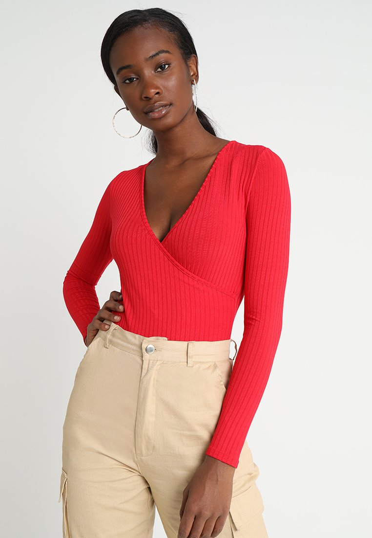 New Look - CARLY LONG SLEEVE WRAP BODY - Long sleeved top - red