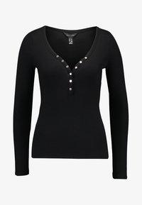 New Look - Y NECK POPPER - Long sleeved top - black - 4
