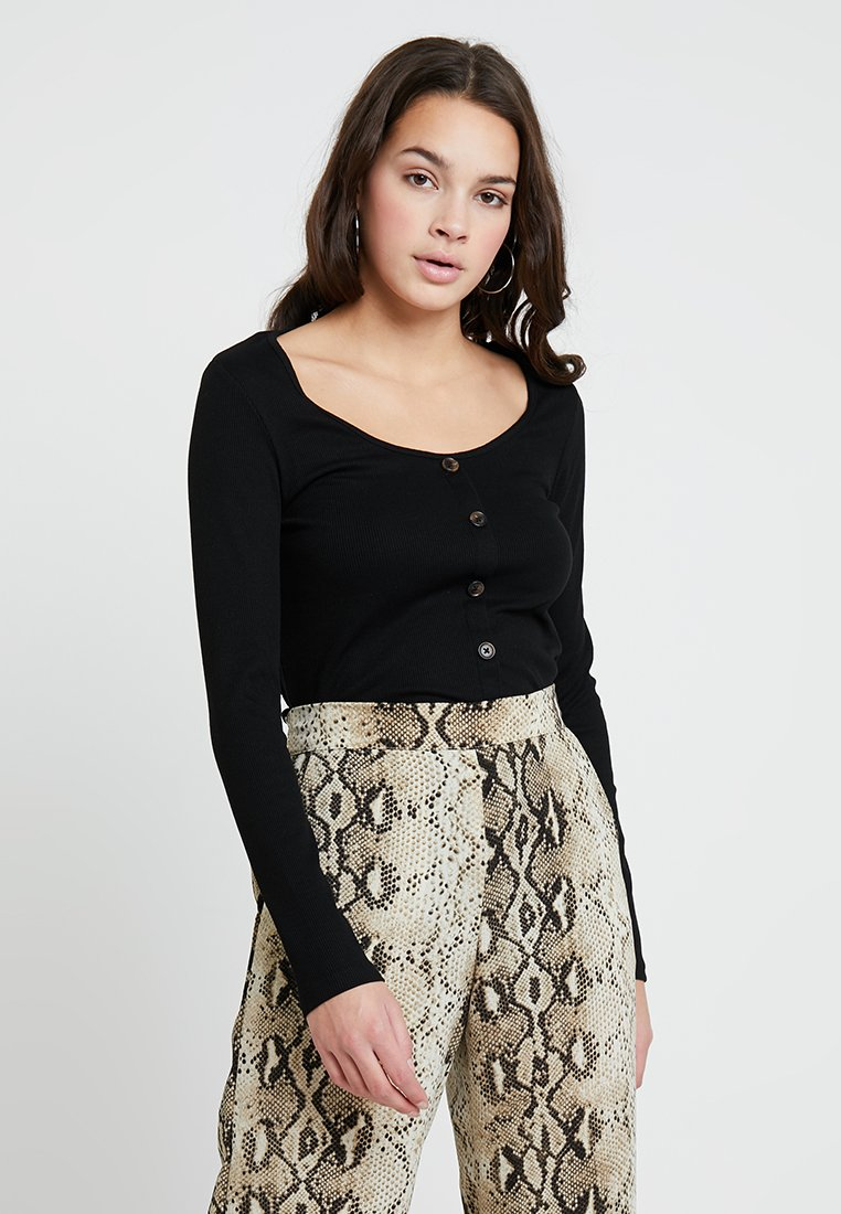 New Look - BUTTON THROUGH - Langarmshirt - black