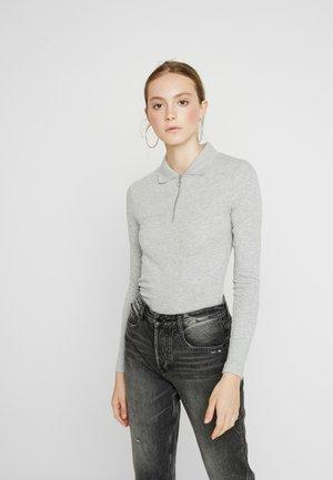 ZIP POLO LONG SLEEVE - Poloshirt - mid grey