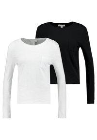 New Look - 2 PACK POCKET TEE - Longsleeve - black/white - 0