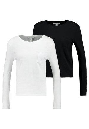 2 PACK POCKET TEE - Top sdlouhým rukávem - black/white