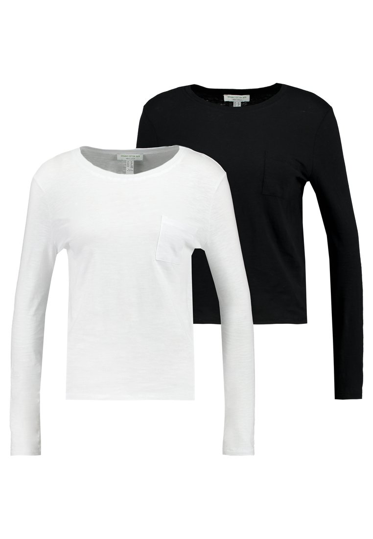 New Look - 2 PACK POCKET TEE - Langarmshirt - black/white