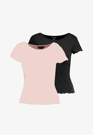 CROP TEE 2 PACK - Camiseta básica - black/coral