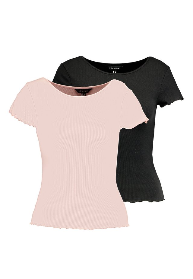 CROP TEE 2 PACK - T-Shirt basic - black/coral