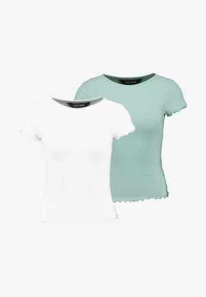 CROP TEE 2 PACK - T-shirts - white/mint