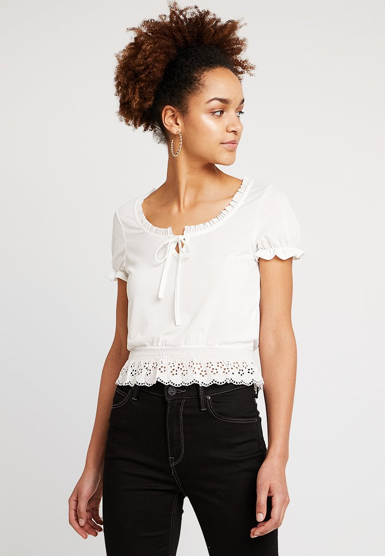 New Look - BRODERIE MIX MILKMAID - Print T-shirt - cream