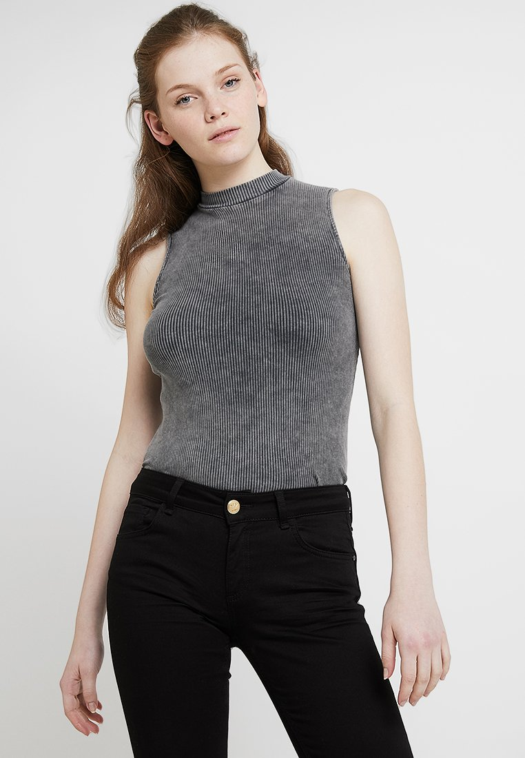 New Look - ACID WASH TURTLE NECK - Top - dark grey