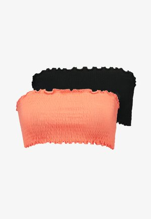 SHIRRED BANDEAU 2 PACK - Top - black/coral