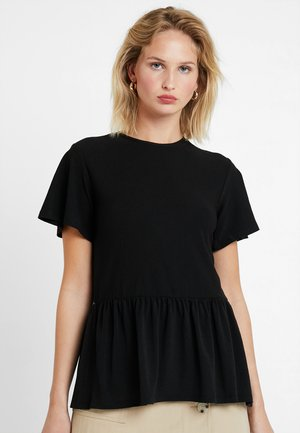 TEXTURED PEPLUM TOP - T-shirts med print - black