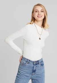 New Look - LETTUCE EDGE - Long sleeved top - off white - 0