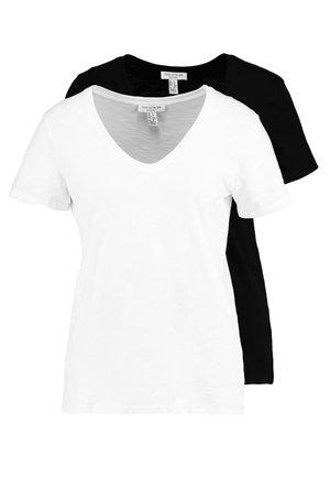 V NECK TEE 2 PACK - Camiseta básica - black