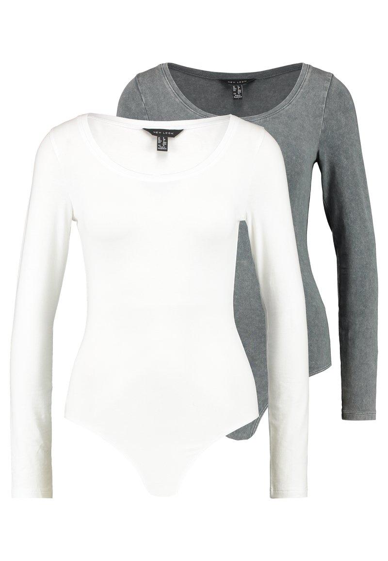 New Look - ACID WASH SCOOP NECK BODY 2 PACK - Long sleeved top - grey