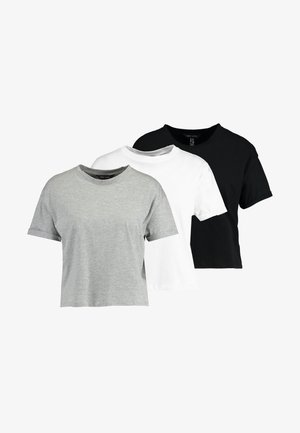 ORGANIC BOXY TEE 3 PACK - T-paita - black/white/grey