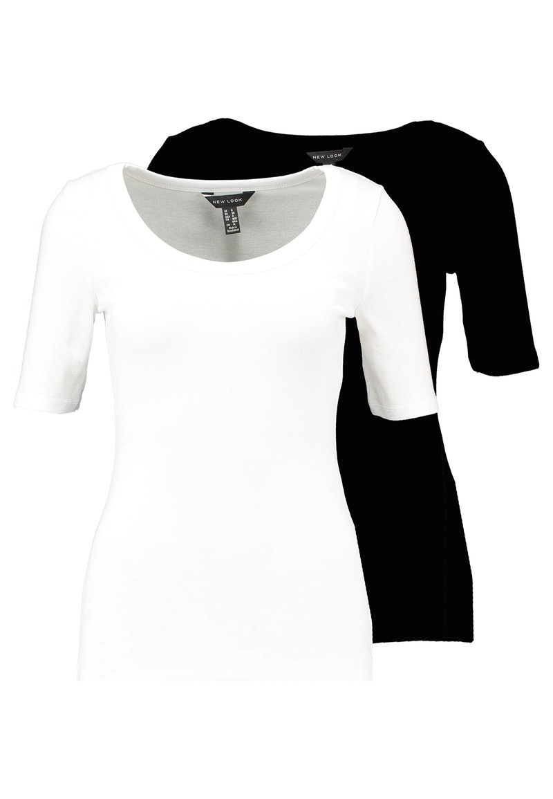 New Look - SCOOP NECK HALF SLEEVE 2 PACK - T-Shirt basic - black