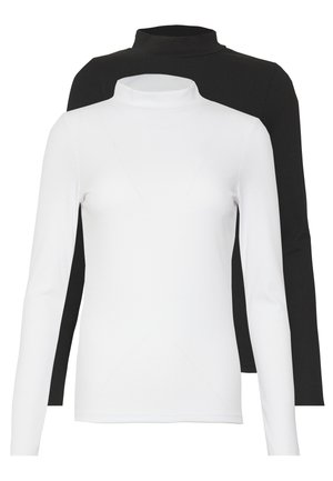 TURTLE NECK 2 PACK - Topper langermet - black/white