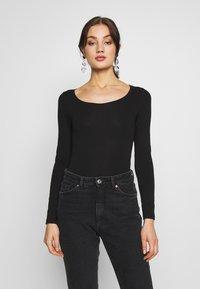 New Look - SCOOP NECK BODY - Long sleeved top - black - 0