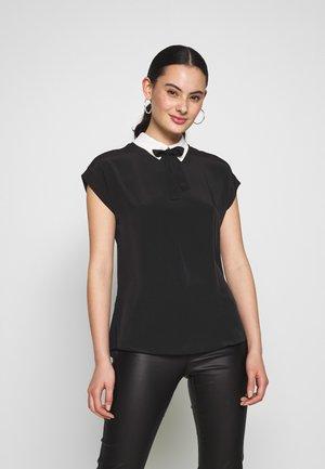 CONTRAST COLLAR TIE NECK - Blusa - black