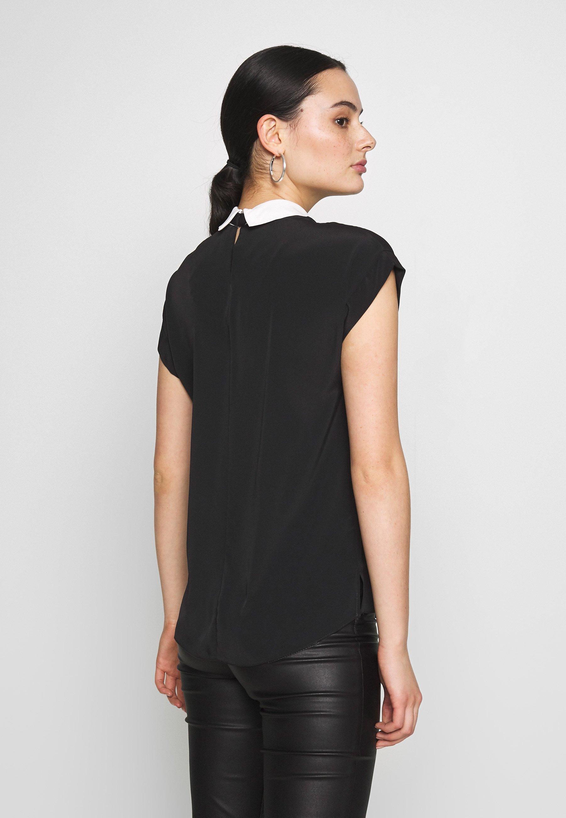 New Look CONTRAST COLLAR TIE NECK - Bluser - black