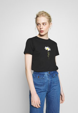 HAPPY DAISY TEE - Print T-shirt - black