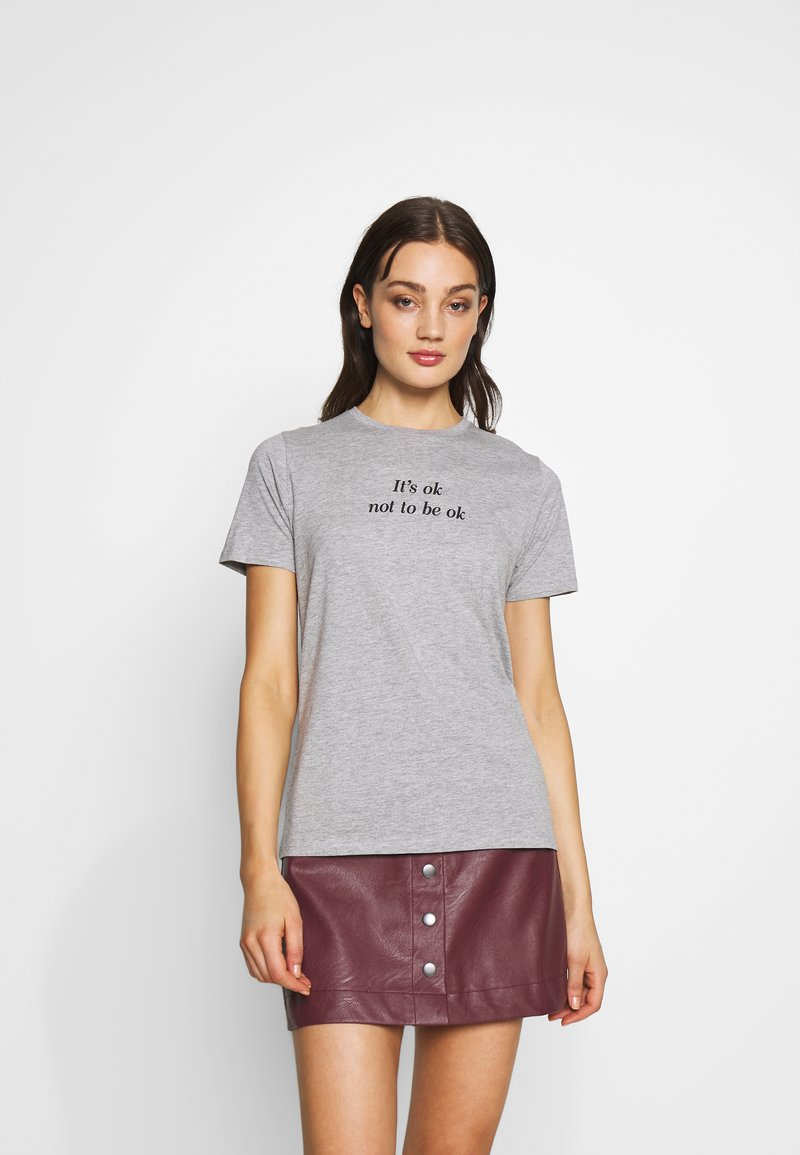 New Look - ITS OK NOT TO BE OK - Print T-shirt - grey