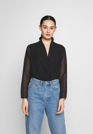 DOBBY WRAP BODY - Blouse - black