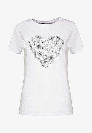 WILD FLOWER HEART TEE - Triko spotiskem - white