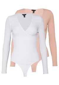 New Look - 2 PACK CARLY LONG SLEEVE WRAP BODY - Long sleeved top - white/light pink - 0