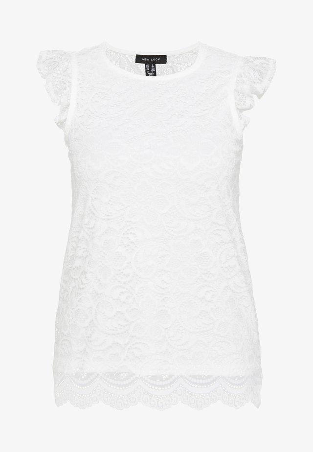 SCALLOP FRILL SHELL - Bluzka - white