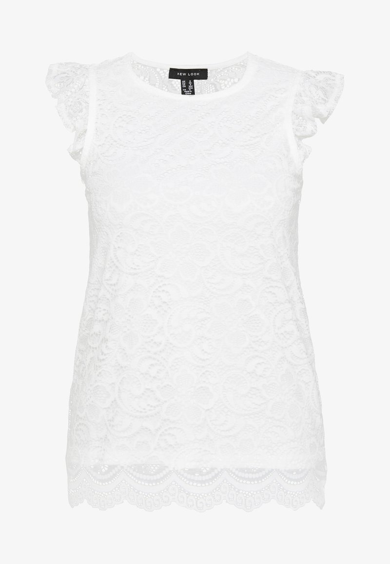 New Look - SCALLOP FRILL SHELL - Blusa - white