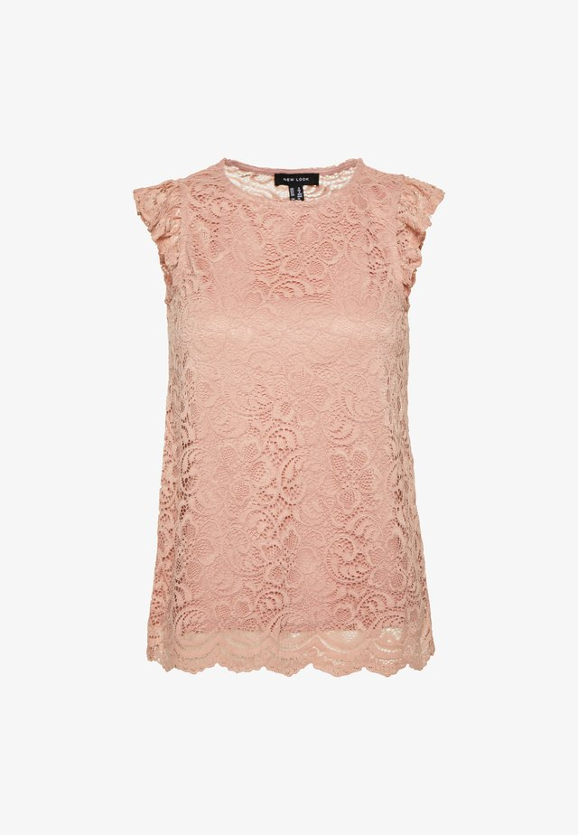 SCALLOP FRILL SHELL - Blouse - mid pink