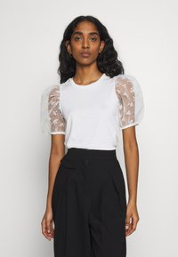 New Look - FLORAL FLOCKED - T-shirts med print - cream - 0