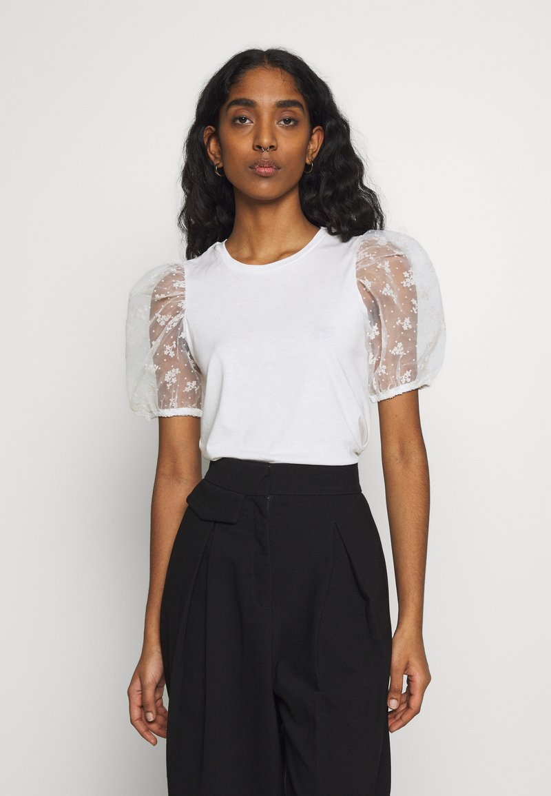 New Look - FLORAL FLOCKED - T-shirts med print - cream