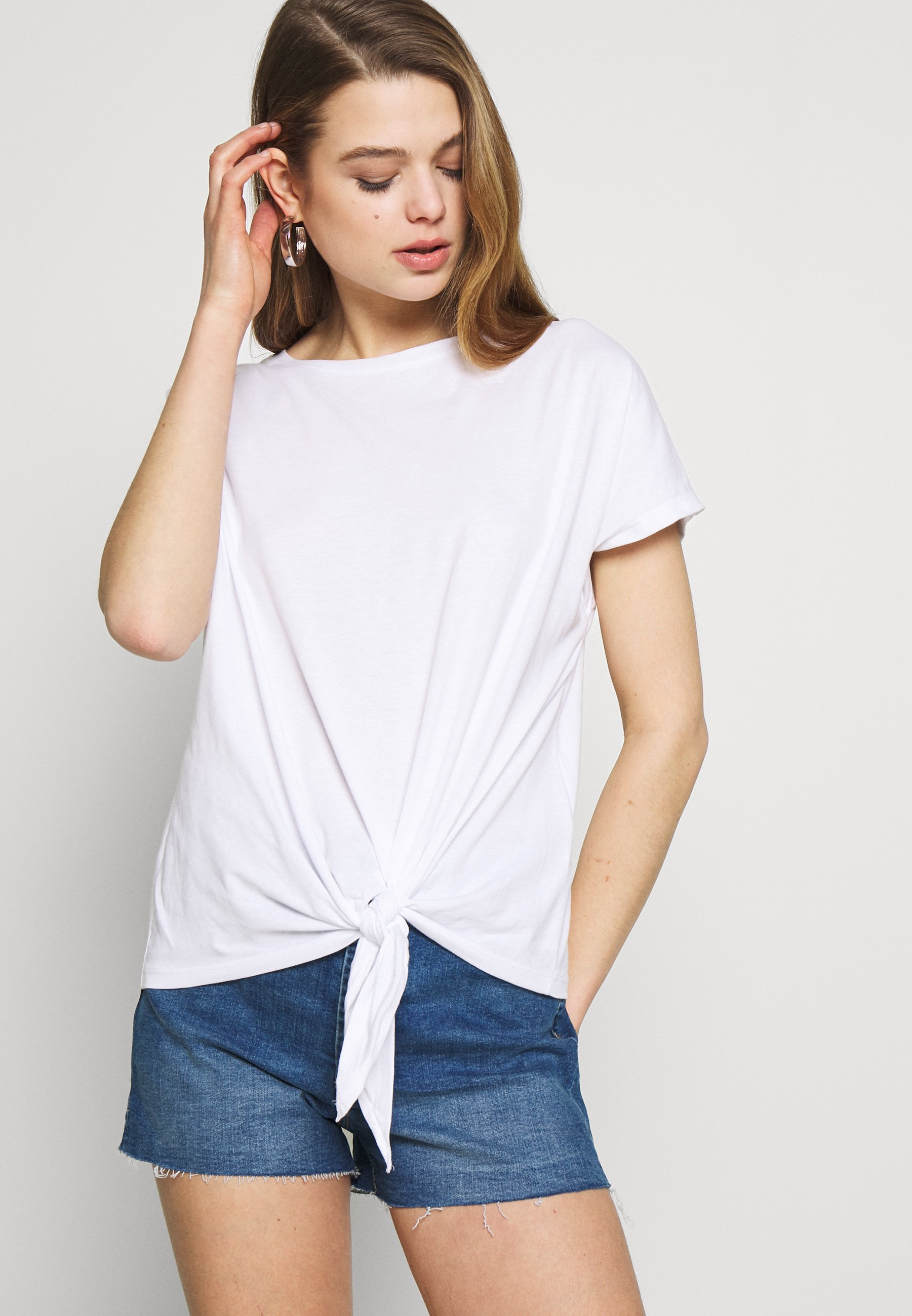 New Look TIE FRONT TEE - T-shirts - white