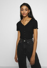 New Look - VARI BUTTON TEE - T-Shirt print - black - 3