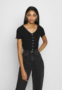 New Look - VARI BUTTON TEE - T-Shirt print - black - 0