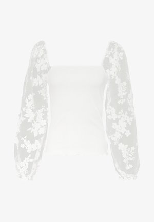ALL OVER FLORAL ORGANZA TEXTURED - Long sleeved top - white