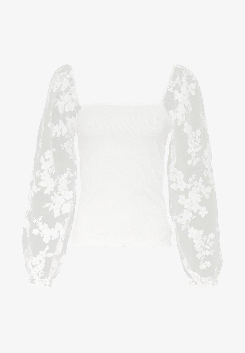 New Look - ALL OVER FLORAL ORGANZA TEXTURED - Top sdlouhým rukávem - white