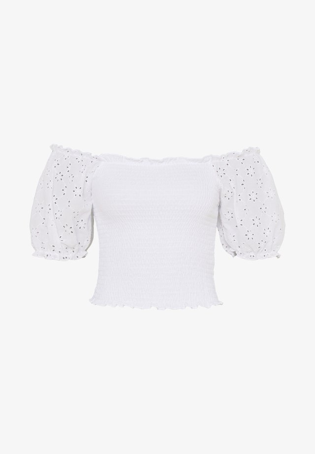 BRODERIE SHIRRED TEE - Print T-shirt - white