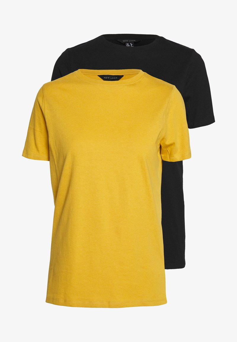 New Look - GIRLFRIEND TEE 2 PACK - T-shirt basic - black/yellow