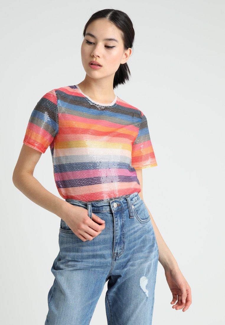New Look - GO RAINBOW STRIPE SEQUIN TEE - Bluzka - multi-coloured