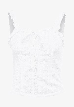 UP BRODERIE FRILL NECK CAMI - Bluse - white