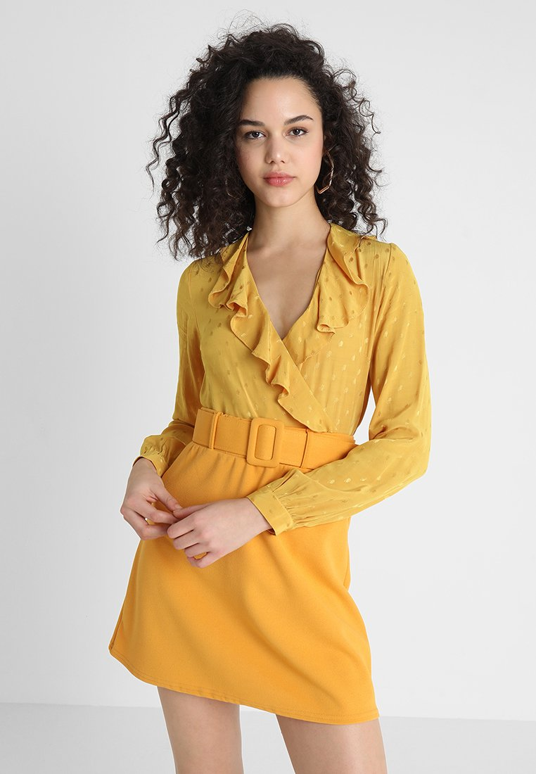 New Look - FIONA FRILL WRAP - Bluse - light yellow