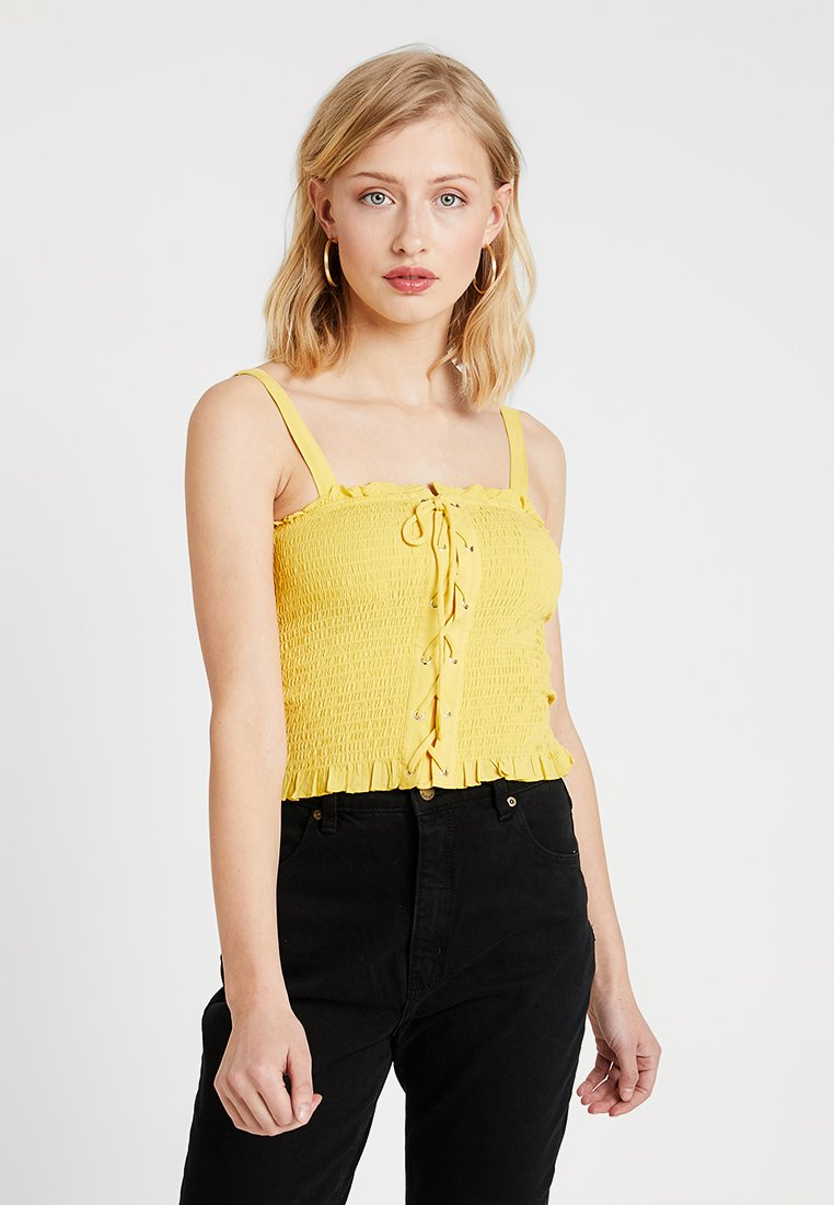 New Look - BIANCA LACE UP SHIRRED CAMI - Top - mid yellow