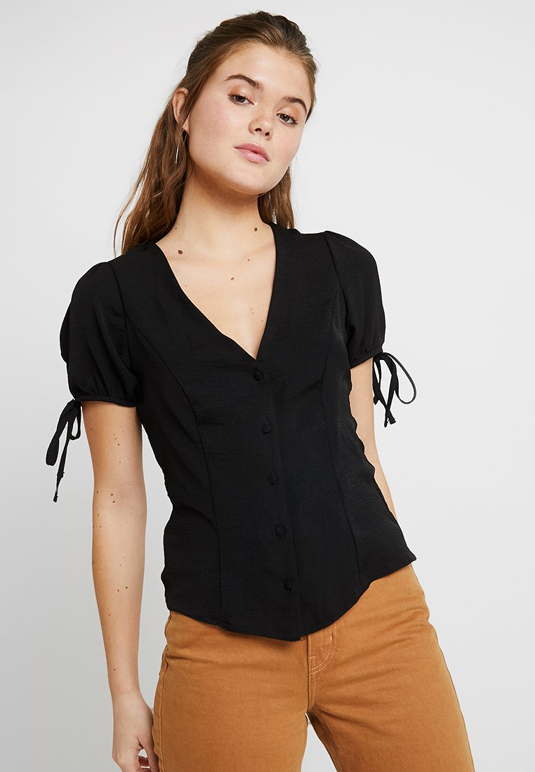 New Look - BOBBY TIE BUTTON BLOUSE - Blusa - black