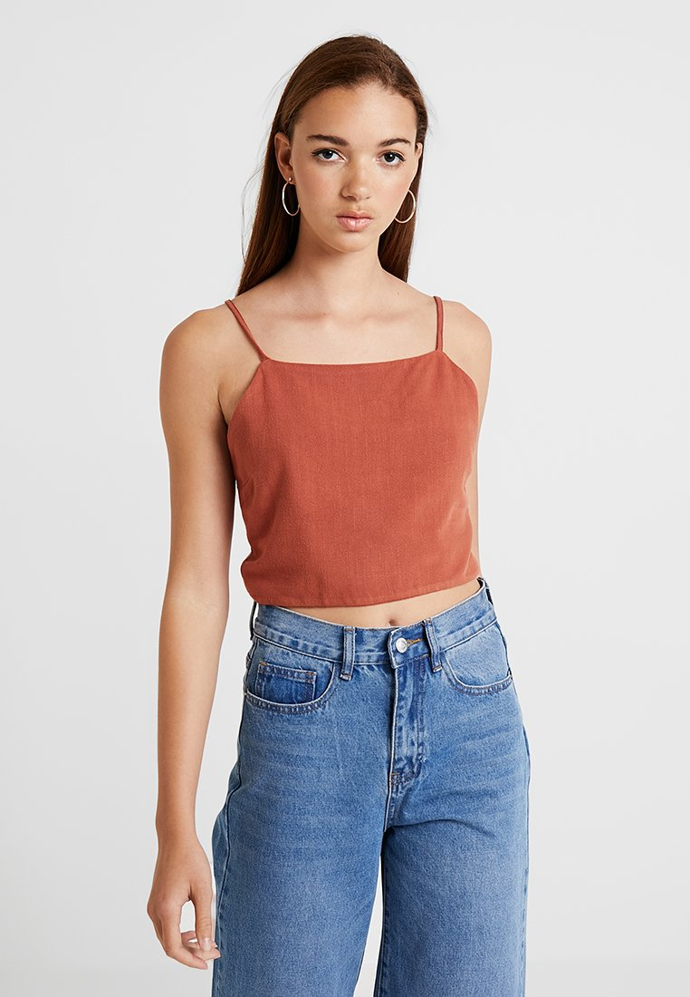 New Look - SOPHIE STRAP CROP - Top - brick clay