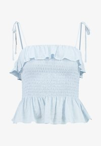 New Look - PLAIN SHIRRED BODY FRILL CAMI - Bluser - light blue - 4
