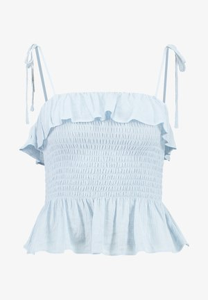 PLAIN SHIRRED BODY FRILL CAMI - Pusero - light blue